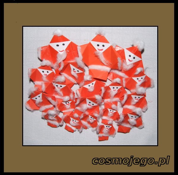 Mikołaje origami, mozna je zawiesić na choince, ozdobić girlandę, lub ozdobić prezent.