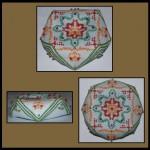 Biscornu - kolorowy wzór, ozdobiony koralikami