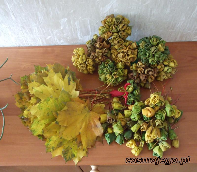 Róże z liści - jesienne inspiracje