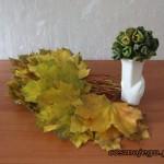 Jesienne liście i zielony bukiet