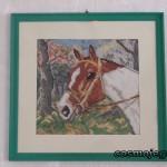 Obraz haftowany - głowa konia, jeden z pierwszych wyhaftowanych.