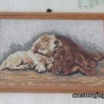 Obraz haftowany - dwa sympatyczne pieski