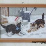 Obraz haftowany - trzy kotki na śniegu.