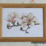 Obraz haftowany - kwiat magnolii