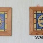 Obrazki haftowane - słońce i księżyc