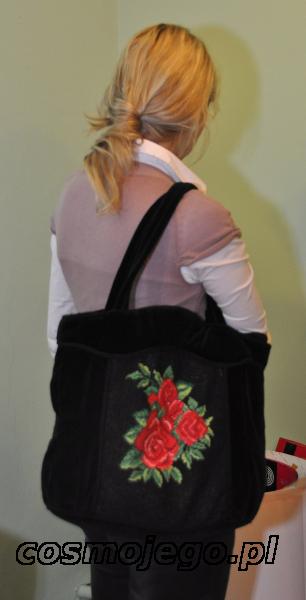 Torba haftowana - róże