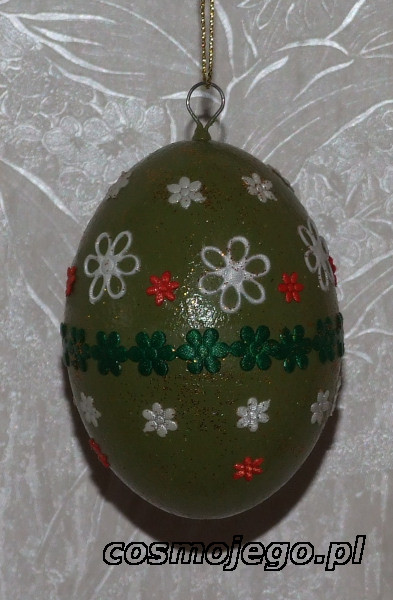 Jajko styropianowe ozdobione pasmanterią