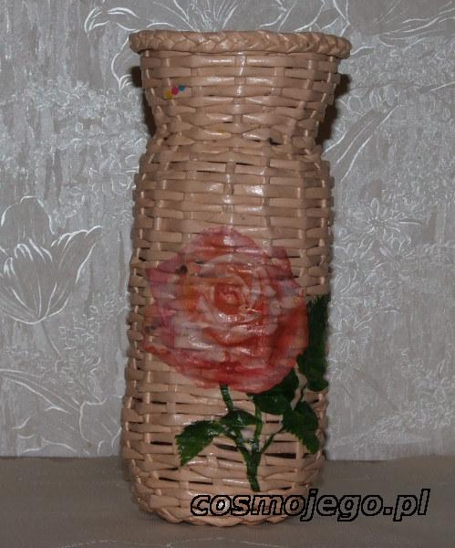 Wazon z wikliny papierowej ozdobiony techniką decoupage