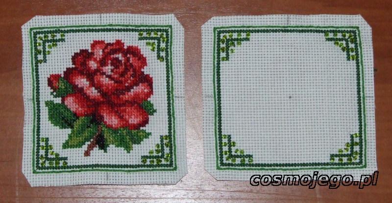 Biscornu z różą przygotowane do zszycia